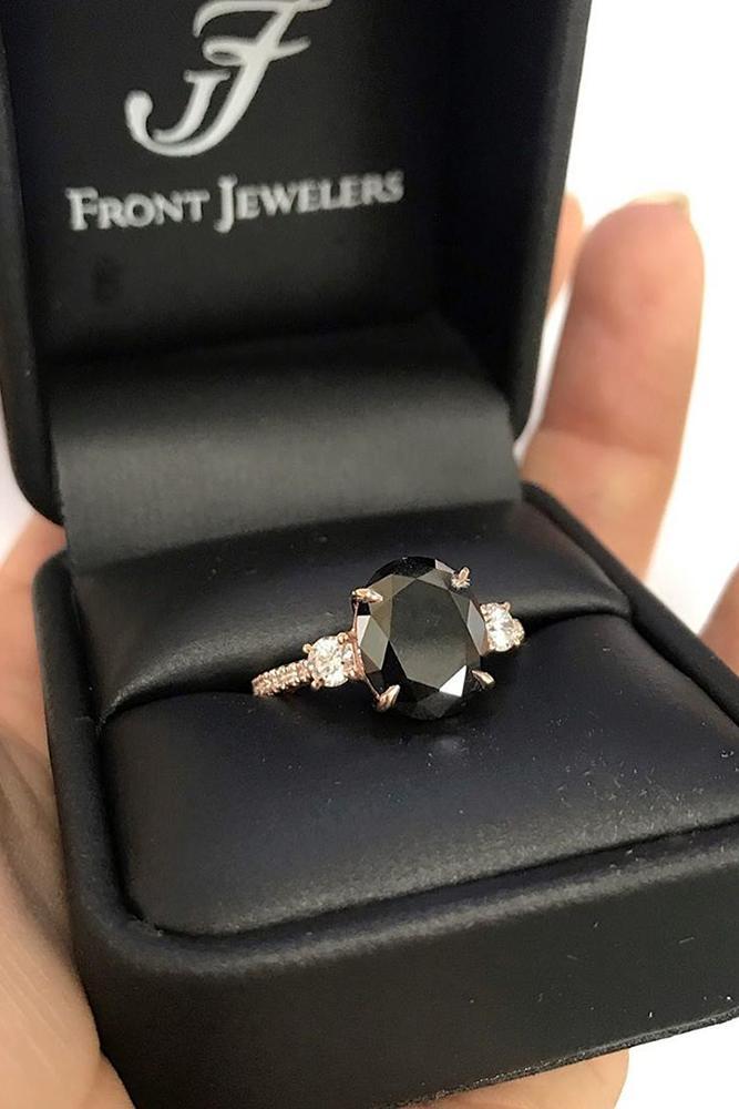 black diamond engagement rings rose gold engagement ring unique ring