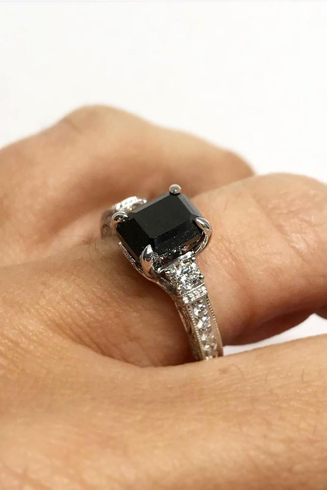 black diamond engagement rings white gold engagement ring solitaire ring