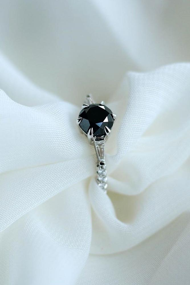 black diamond engagement rings white gold engagement ring solitaire rings round cut ring