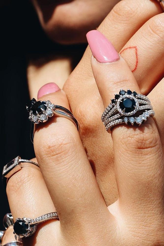 black diamond engagement rings white gold engagement ring unique ring