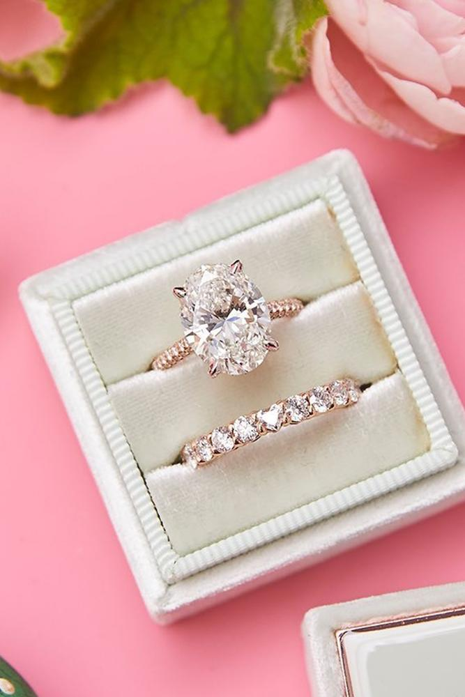 bridal sets oval cut engagement rings diamond engagement rings rose gold engagement rings