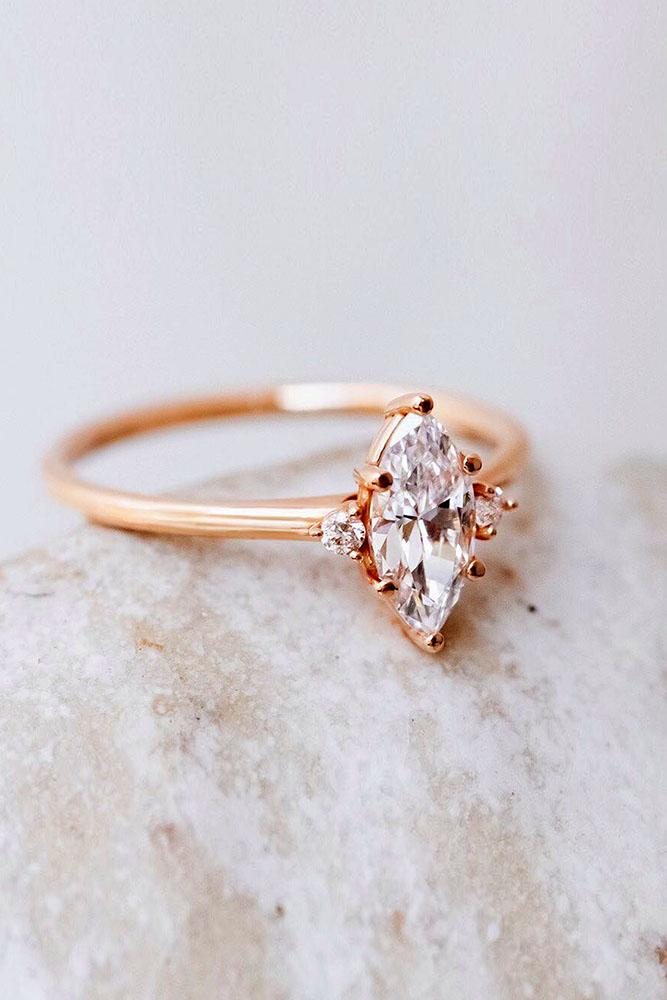 diamond engagement rings rose gold engagement rings marquise cut rings three stone ring