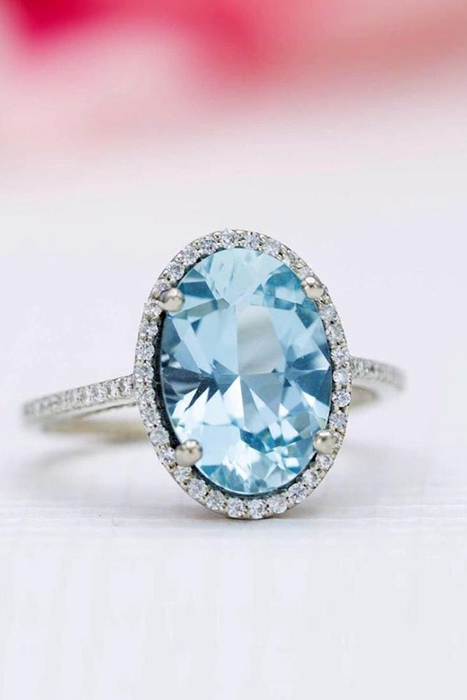 oval engagement rings aquamarine rings white gold rings halo rings