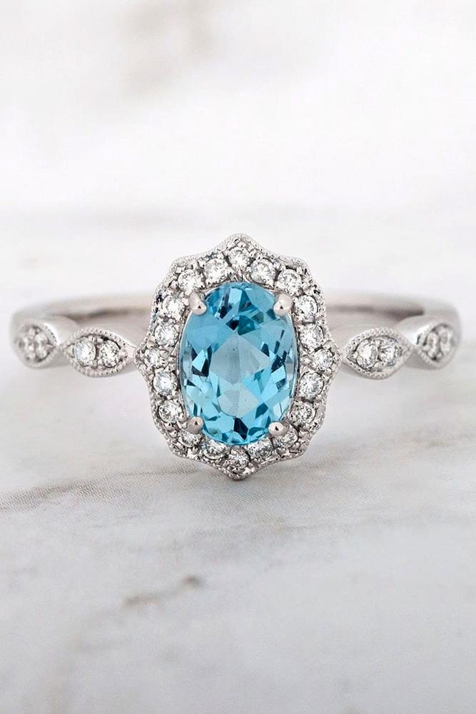 oval engagement rings aquamarine rings white gold rings halo rings vintage rings