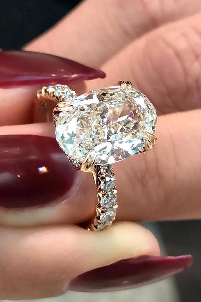 oval engagement rings rose gold engagement rings solitaire engagement rings pave band