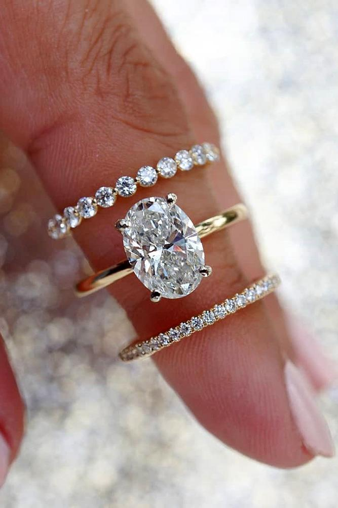 oval engagement rings rose gold engagement rings wedding ring sets