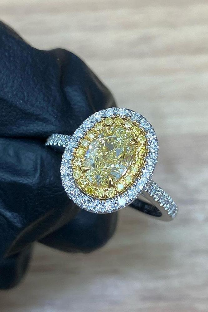 oval engagement rings white gold engagement rings halo rings yellow diamond ring