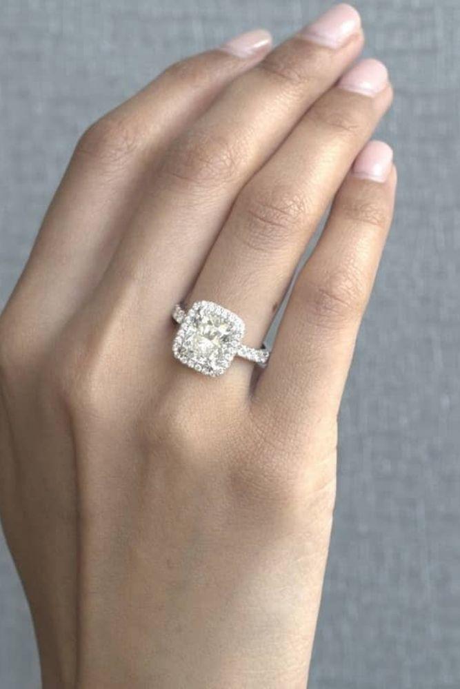 princess cut engagement rings diamond halo rings1