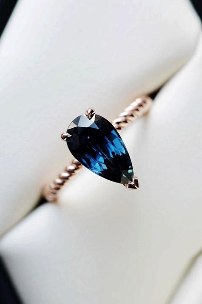 sapphire engagement rings rose gold engagement rings pear shaped rings blue sapphire