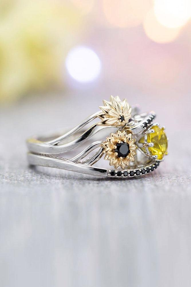sapphire engagement rings white gold engagement ring yellow sapphire