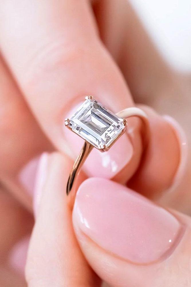 solitaire engagement rings emerald cut rings diamond rings