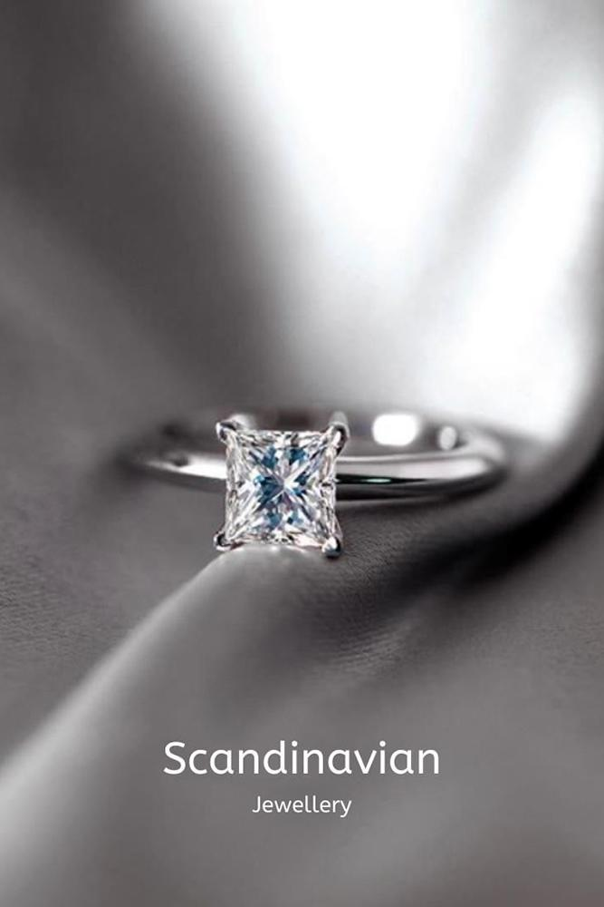 solitaire engagement rings princess cut rings diamond rings white gold rings