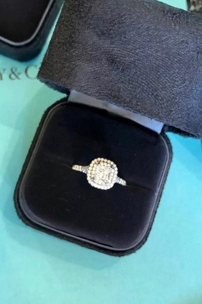 tiffany engagement rings white gold ring halo ring cushion cut ring