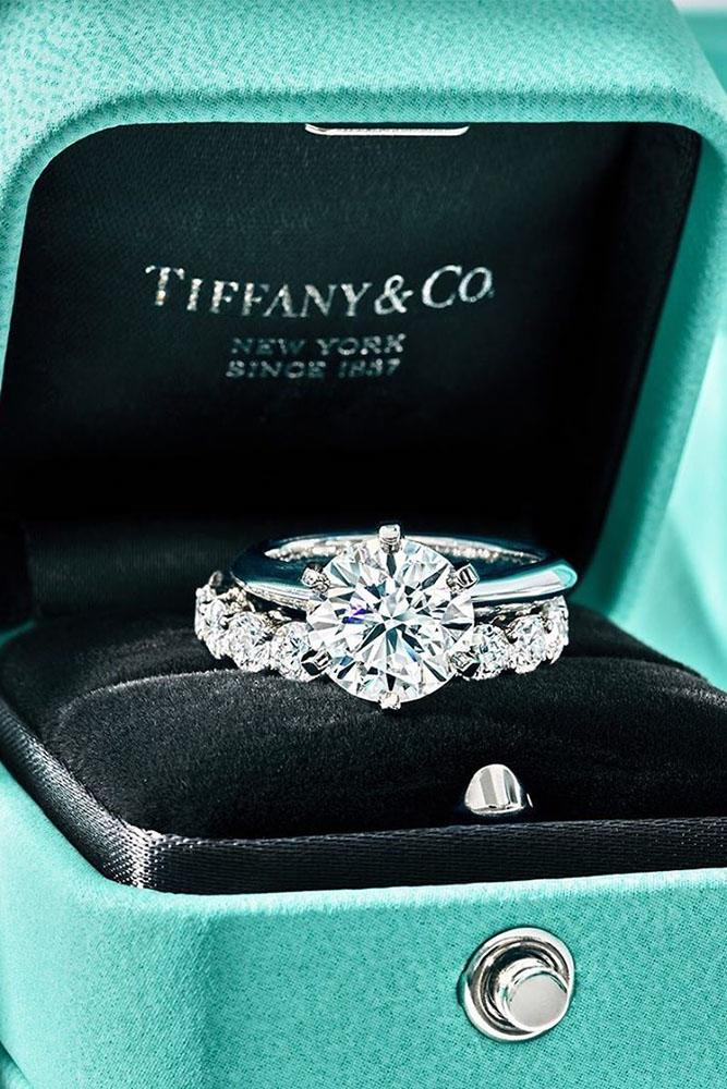 tiffany engagement rings white gold ring wedding ring sets round cut ring