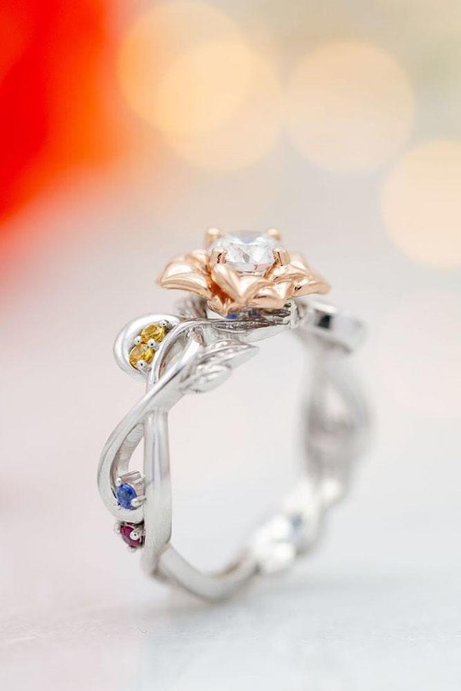 unique engagement rings floral engagement rings gemstone rose ring