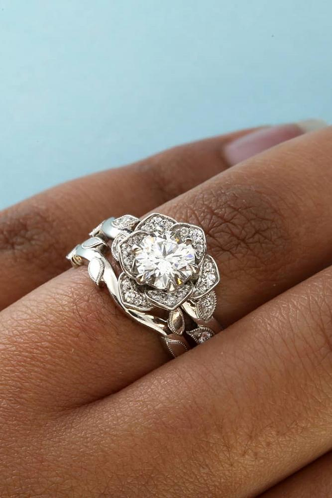 unique engagement rings floral engagement rings white gold engagement ring