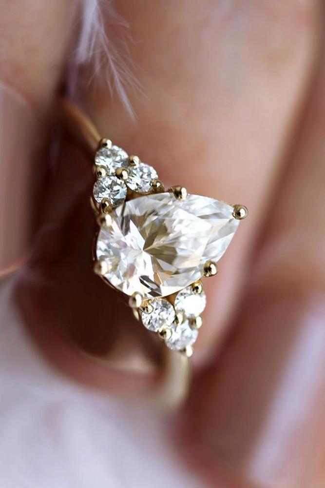 unique engagement rings pear cut engagement rings moissanite engagement rings