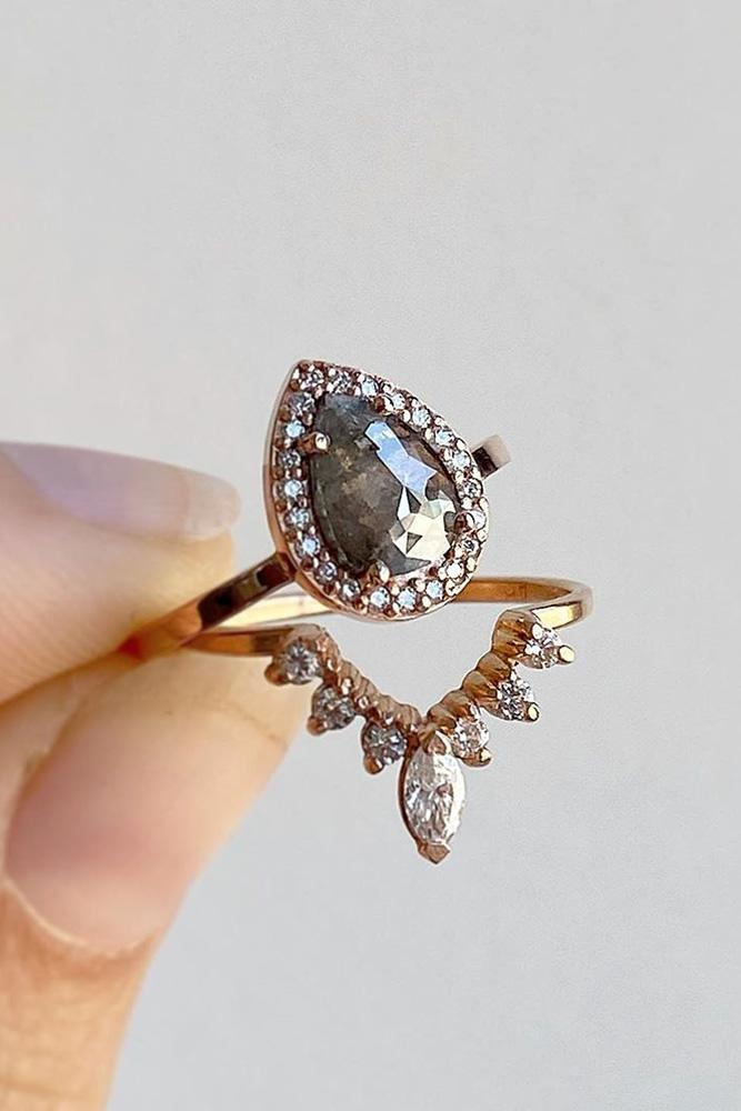 unique engagement rings pear cut engagement rings wedding rings rose gold