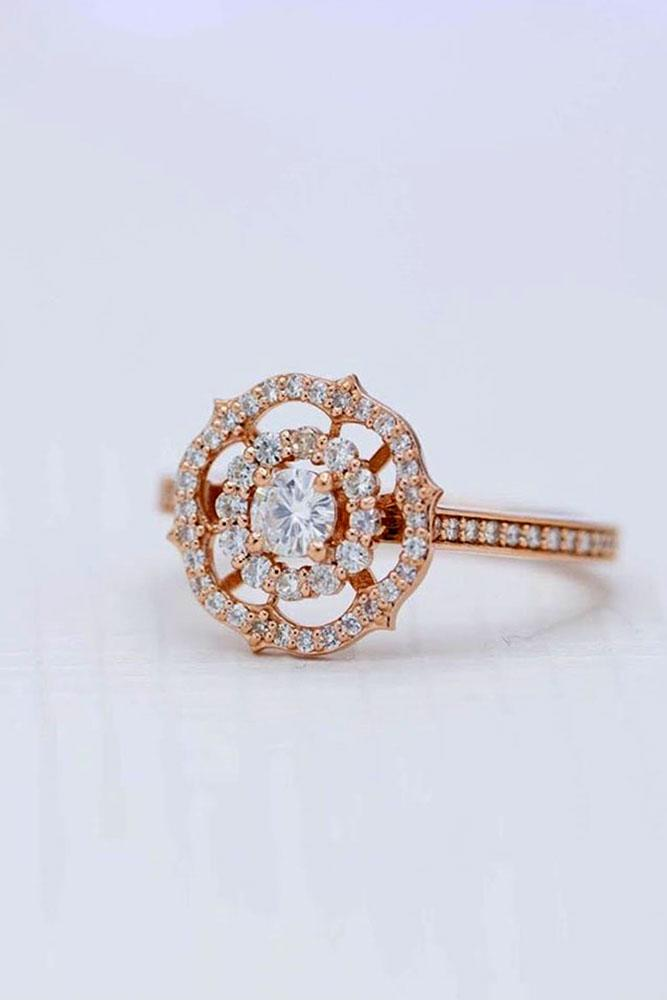 unique engagement rings rose gold engagement rings round cut double halo ring