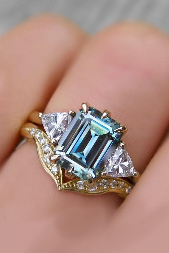unique engagement rings rose gold rings emerald cut ring aquamarine ring