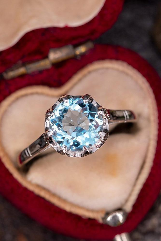 unique engagement rings white gold rings aquamarine ring round cut ring vintage