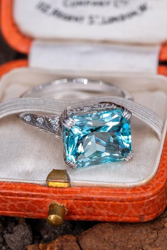 unique engagement rings white gold rings aquamarine ring unique pave band