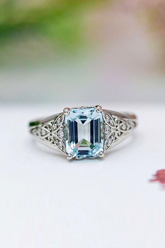 unique engagement rings white gold rings emerald cut ring aquamarine ring