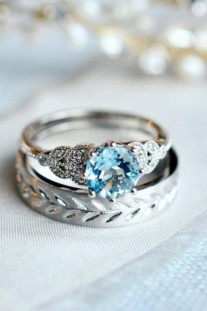 unique engagement rings white gold rings round cut ring aquamarine ring bridal sets