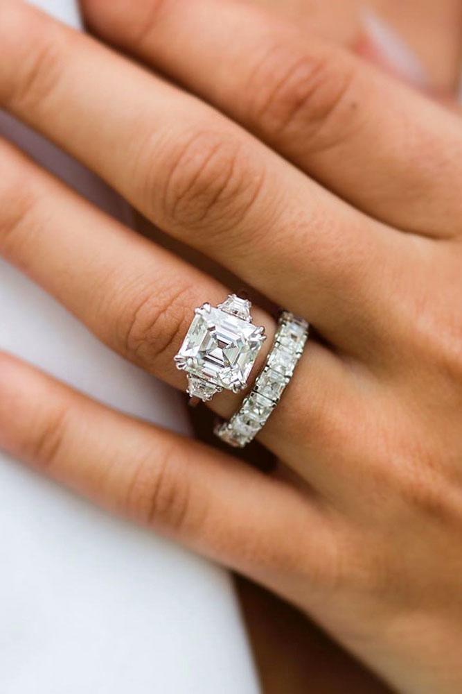 wedding ring sets bridal sets white gold engagement rings asscher cut ring