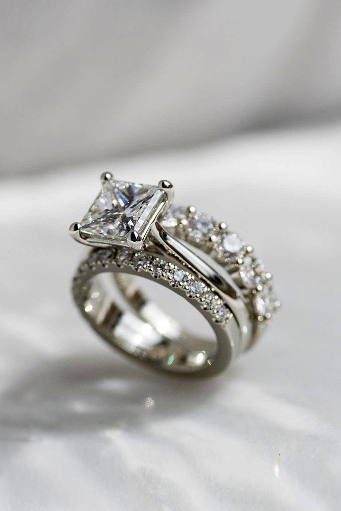 wedding ring sets bridal sets white gold engagement rings princess cut ring