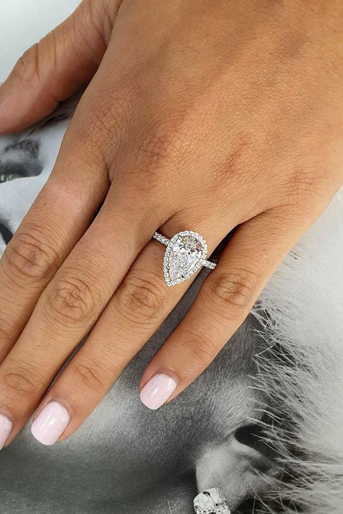 white gold engagement rings pear shaped engagement ring halo ring