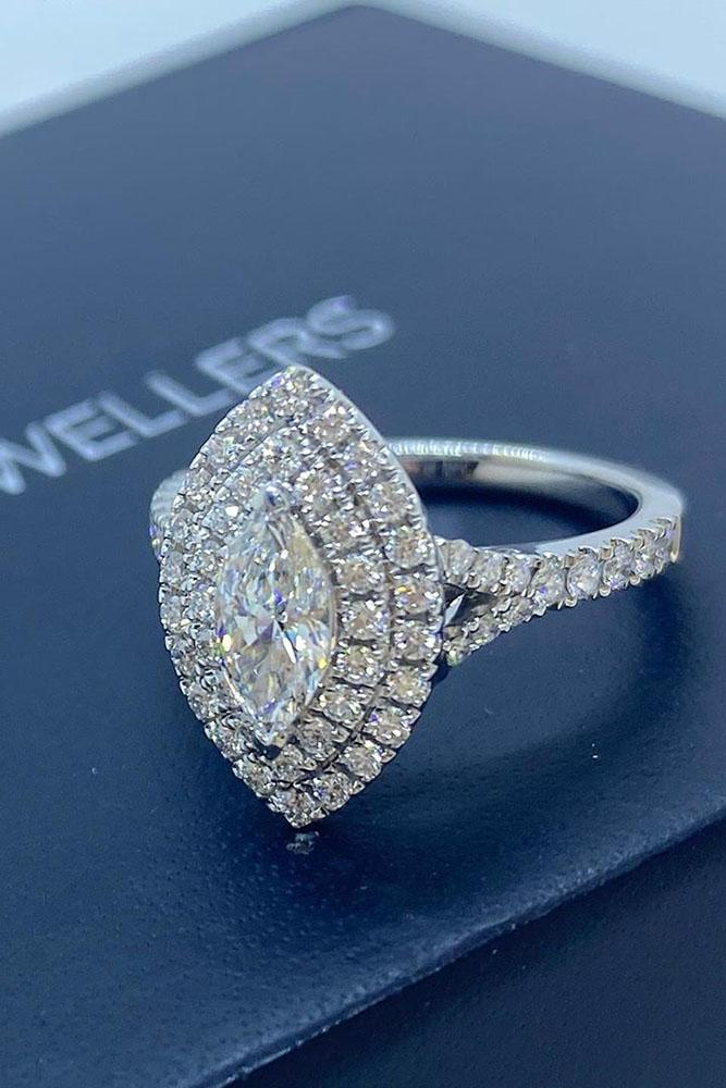 marquise diamond pave band halo ring white gold ring