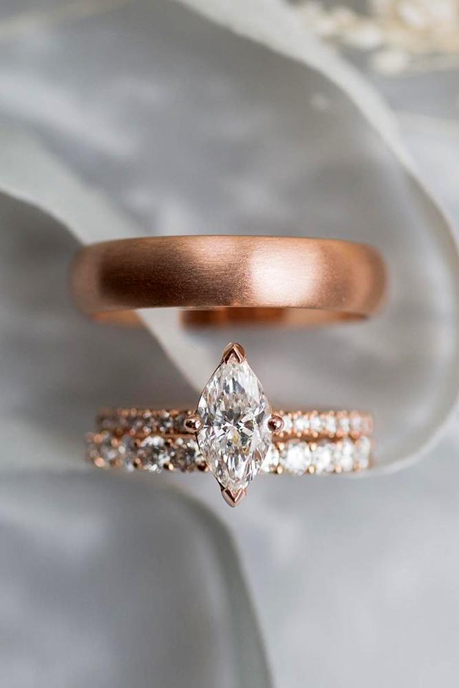 marquise diamond rose gold engagement ring bridal sets