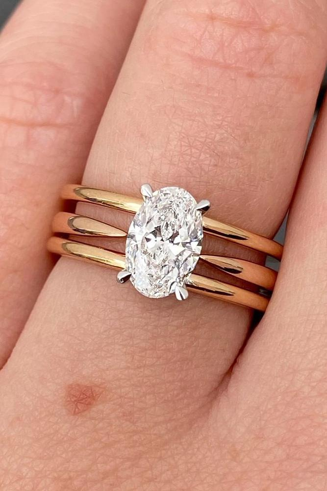 oval engagement rings rose gold engagement rings three tape ring