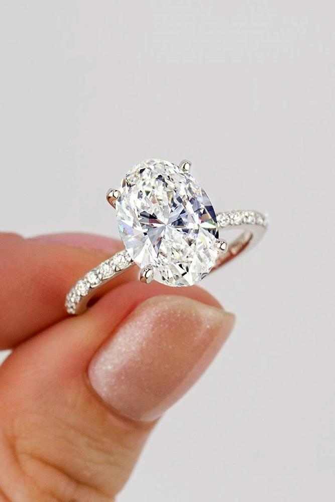 oval engagement rings white gold engagement rings soliitaire rings pave band