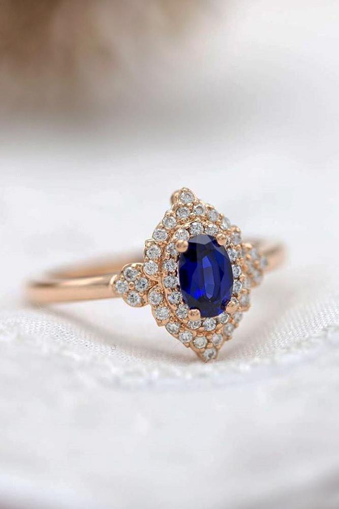 sapphire engagement rings rose gold rings oval cut rings vintage ring halo ring
