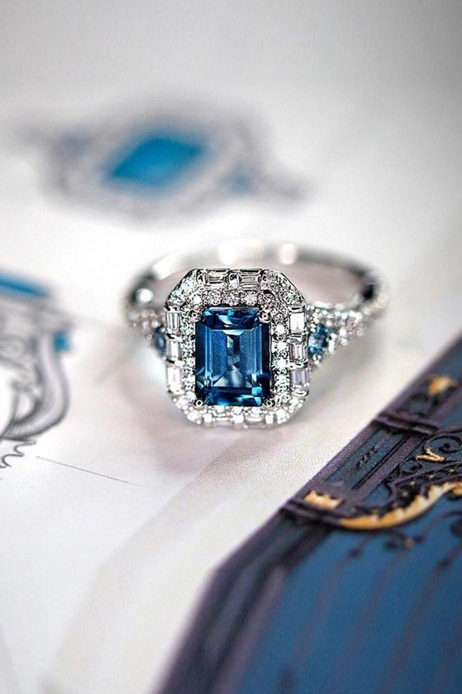 sapphire engagement rings white gold rings emerald cut rings vintage ring halo ring