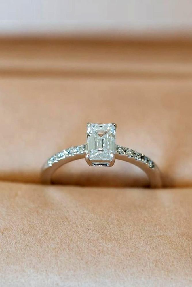 simple engagement ring solitaire engagement ring emerald cut ring