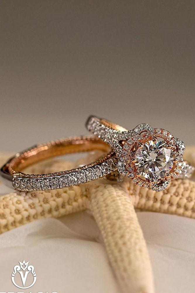 verragio engagement rings halo ring round cut diamond ring two tone ring
