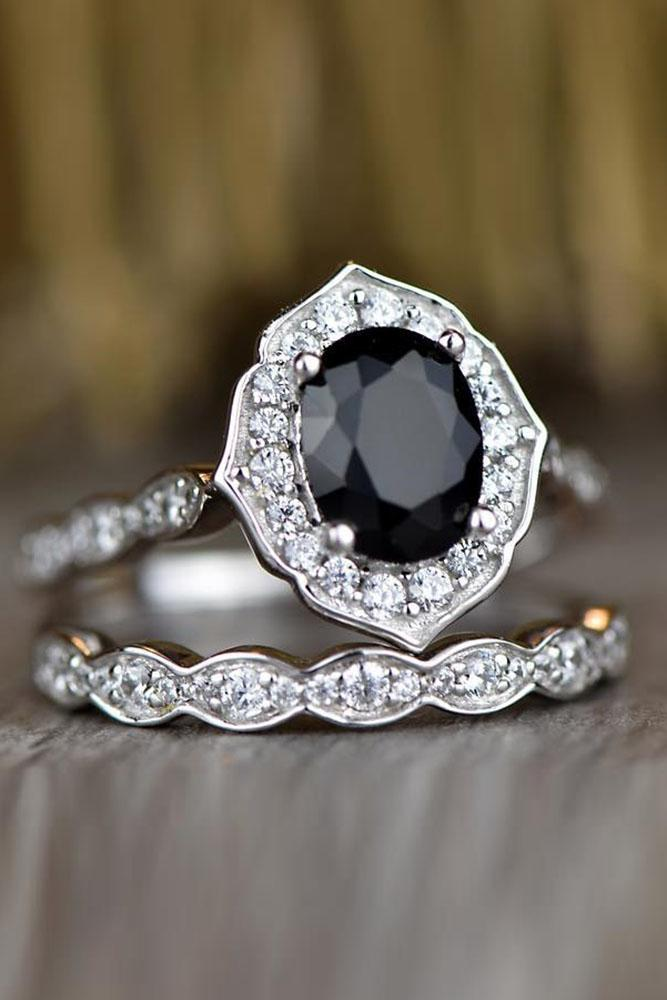 vintage engagement rings oval cut ring white gold engagement ring black spinel