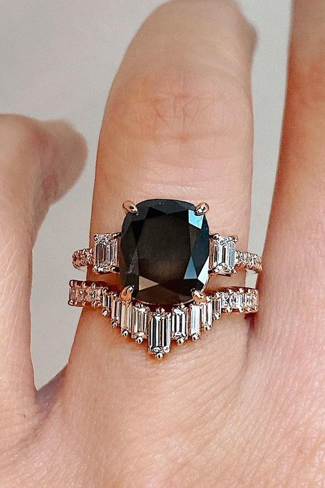 black diamond engagement rings rose gold engagement ring three stone ring