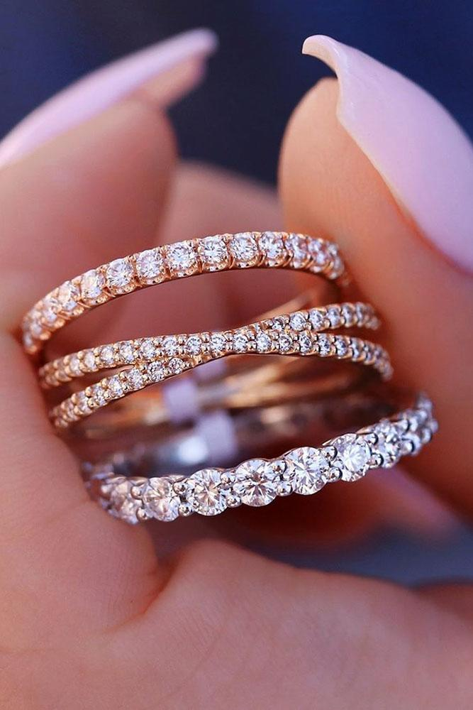 diamond wedding rings rose gold wedding bands stackable bands