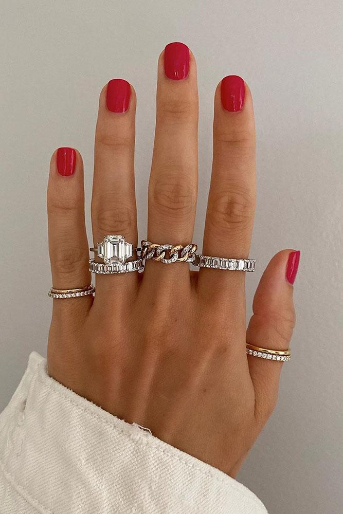 how to mix and match jewelry engagement rings unique rings white gold rings