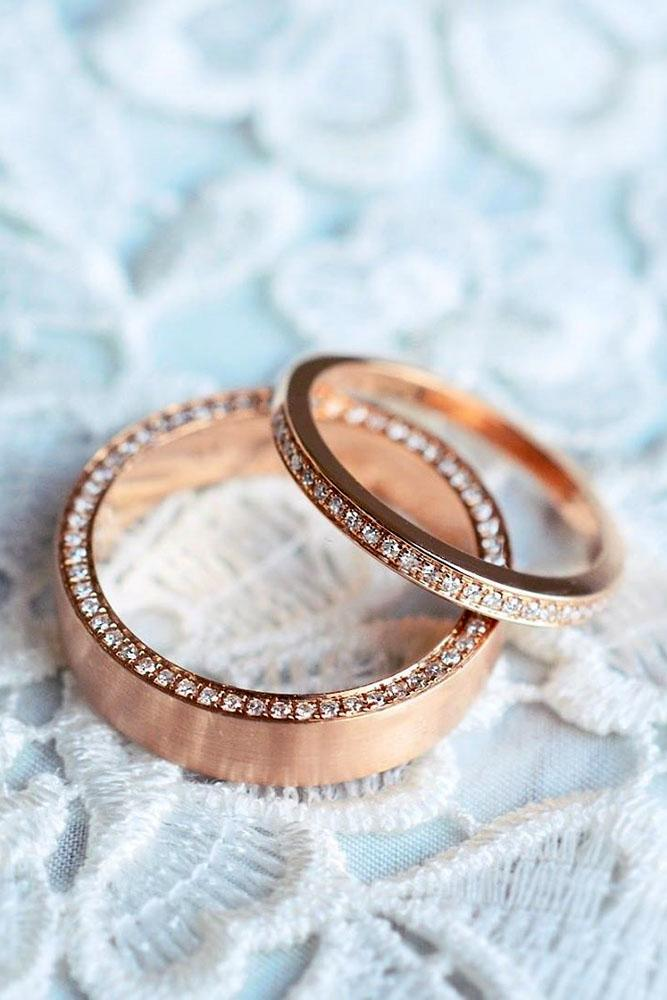 matching wedding bands rose gold wedding rings diamond wedding bands