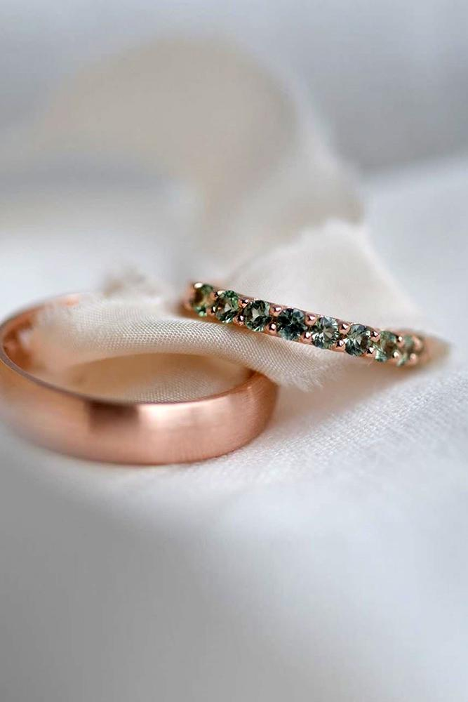 matching wedding bands rose gold wedding rings gemstone wedding bands