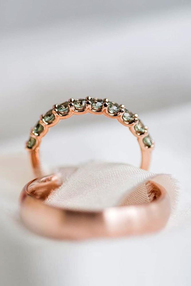 matching wedding bands rose gold wedding rings gemstone wedding bands