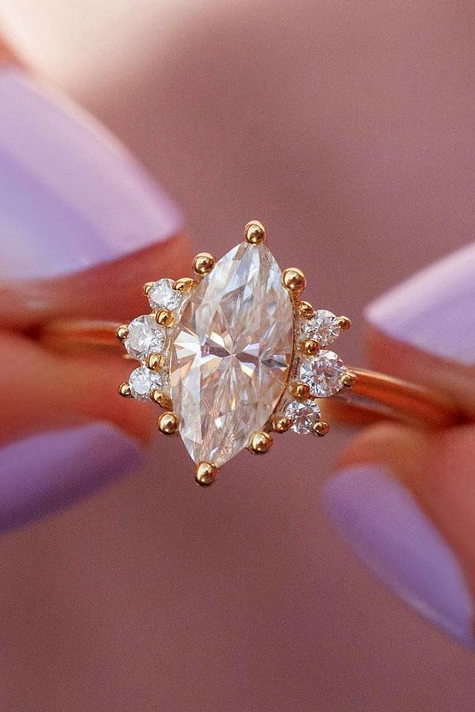 moissanite engagement rings marquise cut ring unique ring