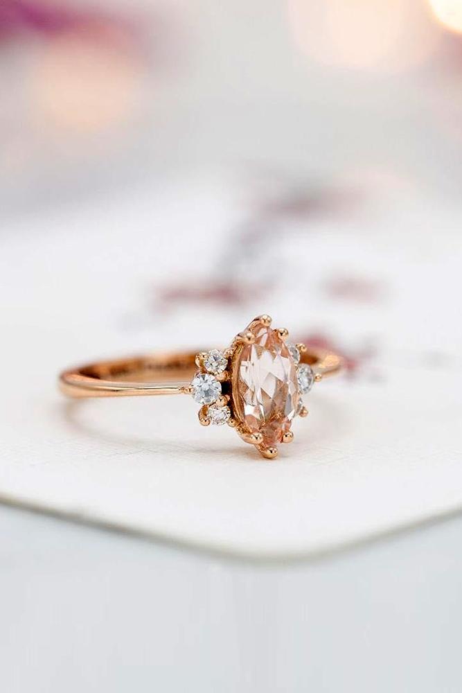 morganite engagement rings rose gold engagement rings marquise cut rings