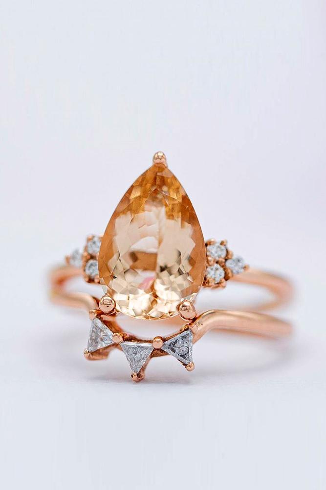 morganite engagement rings rose gold engagement rings pear cut rings