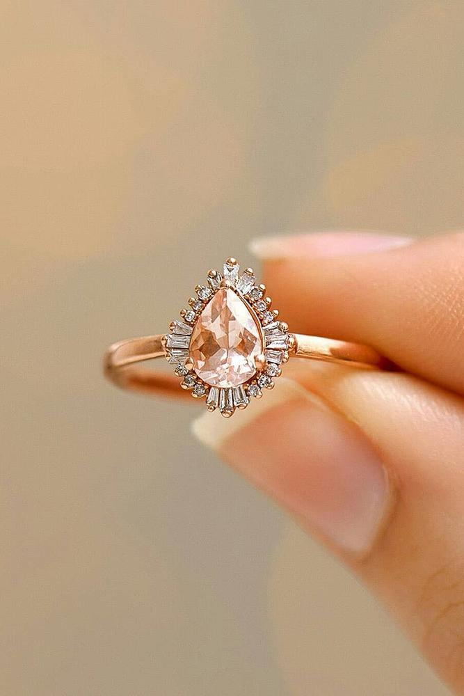 pear shaped engagement rings rose gold rings halo ring